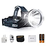 Boruit B10 LED Micro USB Headlamp 3 Modes Super Bright 6000lumens XM-L2 Battery Powered Helmet Light Waterproof Lighwight Headlight for Camping, Running, Hiking (SOS Whistle)