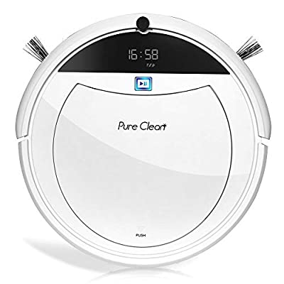 "Pure Clean Robotic Vacuum Cleaner - 1600Pa Suction - Efficient Gyroscope S-Path Scheduled Activation & Automatic Charge Dock - Ultra Thin 3.0"" Height Cleans Carpets and Hardwood Floor - PUCRC105.7"