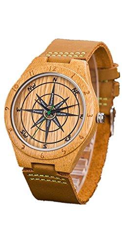 Orologio da polso in legno con cinturino in pelle Bussola Bamboo