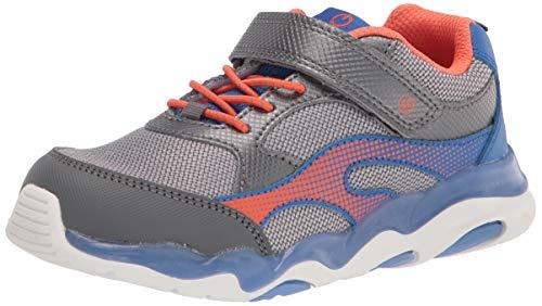 Stride Rite Boy's Lighted Swirl Sneaker, Blue/Orange, 2 Wide Little Kid