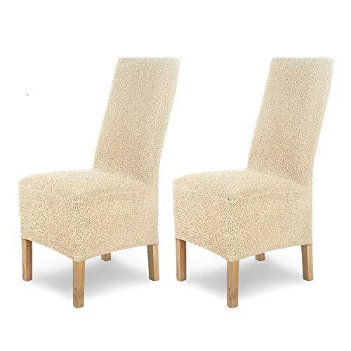 SCHEFFLER-Home Housse de Chaise élastique « Jacquard Lea » / Lot de 2 / crème-Nature / Couverture Spandex / Housse de Chaise élégante / revêtement pour chaises et sièges