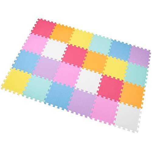 Yostrong Schutzmatten Set Puzzlematte Boden Schutz Matte - 24 Puzzle Bodenschutzmatten Unterlegmatte | spielmatte Baby | Fitnessmatte. Weiß, Orange, Rosa, Gelb, Blau, Grün, Rot, Lila. YC-ABCEGHIKb24N