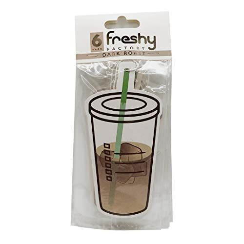 Freshy Factory Iced Coffee Car Air Freshener Dark Roast Scent (6 Pack)