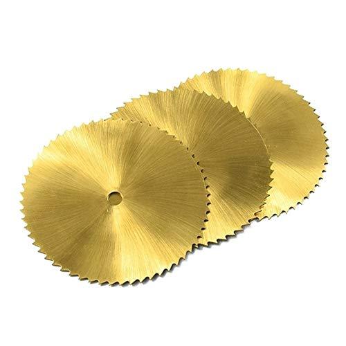 YUNJINGCHENMAN Titanio Recubierto de Hoja de Sierra HSS 60 mm de 72 Dientes Madera Metal Disco de Corte for Herramientas rotativas Mini Circular Hoja de Sierra (Color : 60x6x0.8mm 72T, Size : 3Pcs)