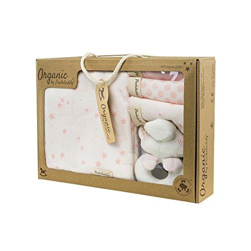 Puckdaddy Organic Waschset Filin mit Sterne und Punkte Muster in Rosa – Baby Geschenk-Set zur Geburt bestehend aus Babydecke, Babyrassel und 3 Spucktüchern, 100% Baumwolle