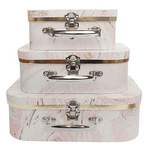 Emartbuy Set of 3 Rigid Luxury Presentation, Suitcase Gift Storage Box, Pink Marble Print, White Interior with Metal Handle and Clasp