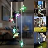 GLKEBY Lámpara de Carillón de Viento Solar, Control de luz, lámpara de jardín Que Cambia de Color a Prueba de Lluvia, lámpara Colgante para decoración de terraza