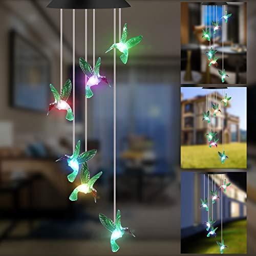 GLKEBY Solarleuchten Windspiele für Außen,Lichtsteuerung Regensichere Farbwechsel Gartenlampe, Romantische Windspiel Lampe Mit Haken Für Hängelampe Dekoration Von Terrasse/Gartenparty/Baum