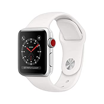 Apple Watch Series 3  GPS + Cellular 38MM  - Silver Aluminum Case with White Sport Band  Renewed