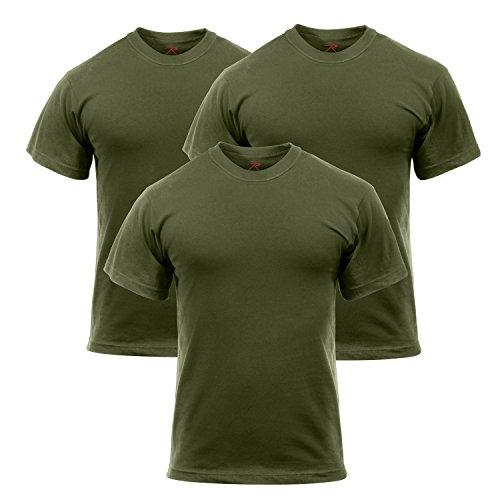 Rothco 3 Pack Military T-Shirt, L Olive Drab