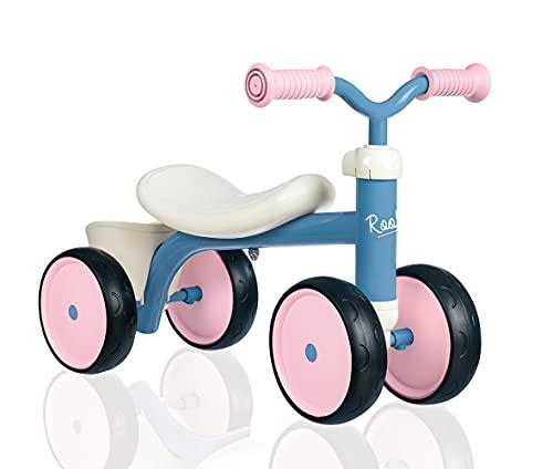 Smoby 721401 – Rookie Laufrad Rosa – ideale Lauflernhilfe für Kinder ab 12 Monaten, Lauflernrad mit Spielzeug-Korb, Retro Design für Mädchen