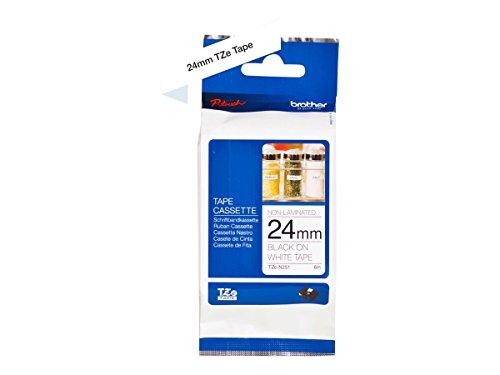 Brother Original P-touch Schriftband TZe-N251 24 mm, schwarz auf weiß (kompatibel u.a. mit Brother P-touch P700, -2430, -D600, -9700PC, -P750W) nicht laminiert