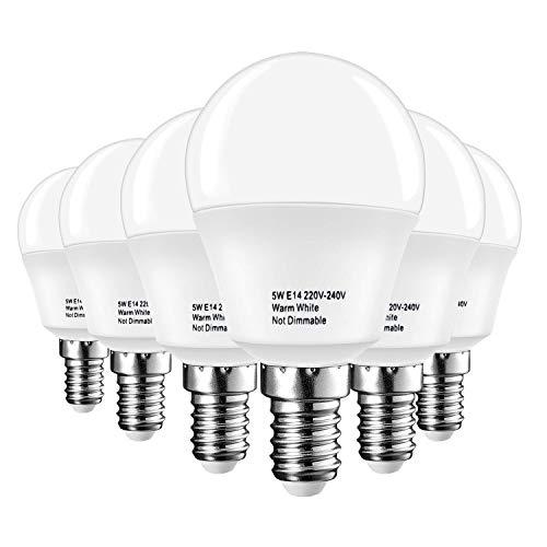 LAKES ampoule LED E14 Petit culot à vis, balle de golf P45 ampoule, 5W (équivalent ampoule à incandescence de 40 W), blanc chaud 3000 K, 6-pack, plastique, Blanch chaud (3000k), plastique