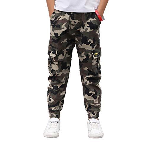 Agoky Pantalones de Combate para Niños y Niñas Moda Pantalon Cargo de Camuflaje Militar Pantalon de Danza Hip Hop Deportivo Chicos 5-14 años Camuflaje A 5-6 años