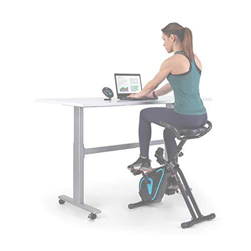 Capital Sports Azura Desk Bike, bicicléta estática, bicicleta para cardio para oficina, volante de inercia de 7,5 kg, MagResist: Resistencia magnética (8 niveles), cómoda, consola de mesa, carbón