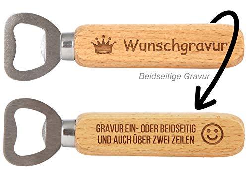 SNEG Flaschenöffner aus Holz mit Gravur (Text + Motiv) (beidseitige Gravur)