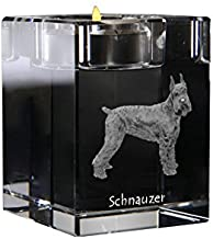 Schnauzer Cropped, Crystal Candlestick, Candle Holder with Dog, Souvenir, Limited Edition