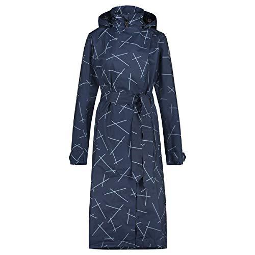 AGU Trench Coat Langer Regenjacke | Urban Outdoor Femme | Met riem | Blau | S