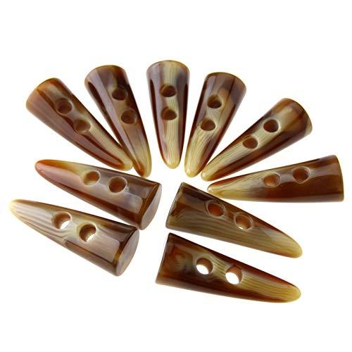 Ototec Knebelknöpfe, 10 x 50 mm groß, Horn-Nachahmung, für Mäntel, Jacken, Cremefarben
