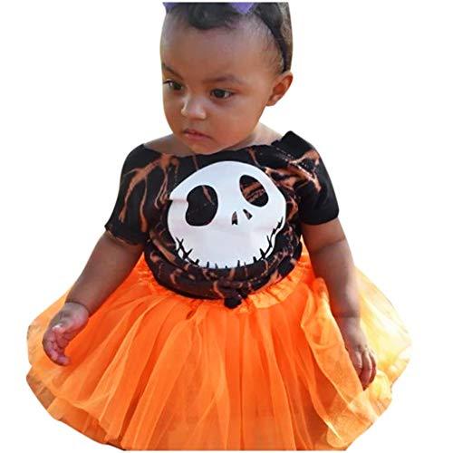 Vestidos Bebe Niña Disfraz Halloween Recien Nacido Niñas Bebe Camiseta Estampada Manga Corta Baby Tutú de Malla Vestido Princesa riou