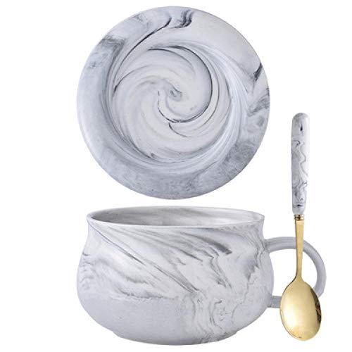 Teller Keramik Haferflocken Frühstücksschale Nudelschale Mit Deckel Mit Löffel Große Kapazität Tasse Marmor Muster Keramik Suppenschüssel Milchschale