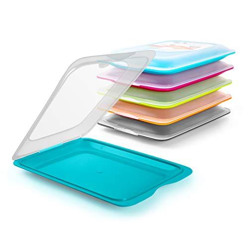 K&G Hochwertige Aufschnitt-Boxen 6 Set Platzsparend Stapelbar (Stapelboxen) / Vorratsdosen-Set für Aufschnitt mit integrierter Servierplatte. Foodcenter Frischhaltedosen für den Kühlschrank