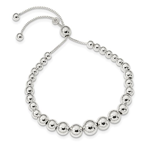 925 Sterling Silver Graduated Beads Adjustable Bracelet 8.5 Inch Stretch Wrap Bead Beadsed Fine Jewelry For Women Gift Set