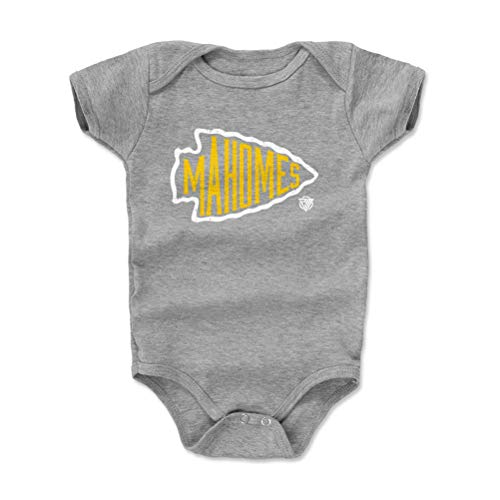 1UP Sports Marketing Patrick Mahomes Baby Clothes, Onesie, Creeper, Bodysuit (Onesie, 6-12 Months, Heather Gray) - Patrick Mahomes Arrowhead WHT
