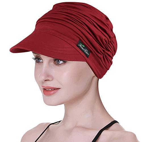 FocusCare Weiche Hüte für Damen in Chemotherapie, Bambus, Baseball-Cap, bei Haarausfall, Turban Gr. Einheitsgröße, Burgunderrot