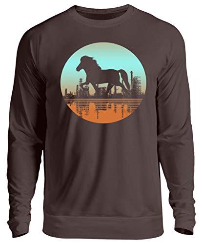 Icelandic Horse: Islandpferd Pony Merch - Unisex Pullover -M-Schokolade
