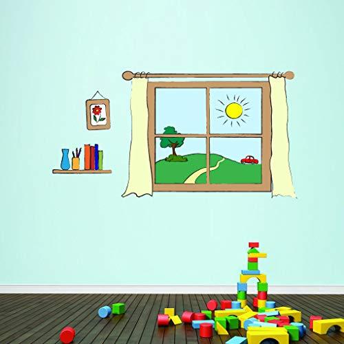 Tamengi Vinilo decorativo para pared con estante para ventana e imagen impresa, cuarto de niños, decoración de sala de juegos, casa de juegos de simulación, acentos de pared y pegatinas de 55,88 cm
