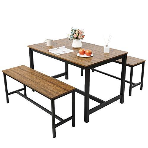 Meerveil Esstisch und Stuhl, 120x75x75cm, küchentisch mit stühlen, Essgruppe aus Holz, Esszimmergruppe mit Esstisch und 2 Sitzbänke, 4-6 Personen, Industrie, für Küche, Wohnzimmer, Esszimmer, Schwarz