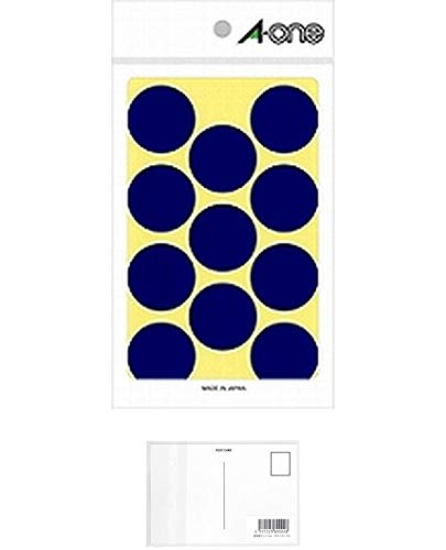 エーワン カラーラベル30mm丸 青 07232 【まとめ買い10パックセット】 + 画材屋ドットコム ポストカードA