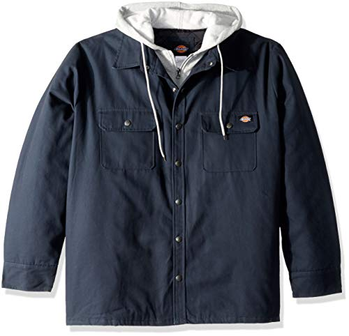 Dickies Men's Relaxed fit Hooded Duck Quilted Shirt Jacket, Dark Navy, M