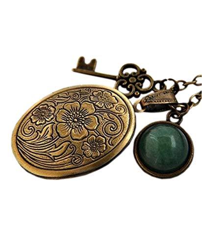Vintage-Kette mit Medaillon für Fotos mit Jadestein und Schlüsselanhänger Bronze - Geschenk für Sie - Schmuck Geschenk - Handmade Geschenk