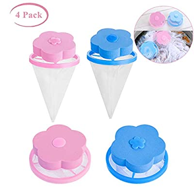 Washing Machine Filter Bag Lint Traps Lint Catcher Household Reusable Hair Remover Tool Floating Pet Hair Lint Mesh Remover (4pcs Flowers)