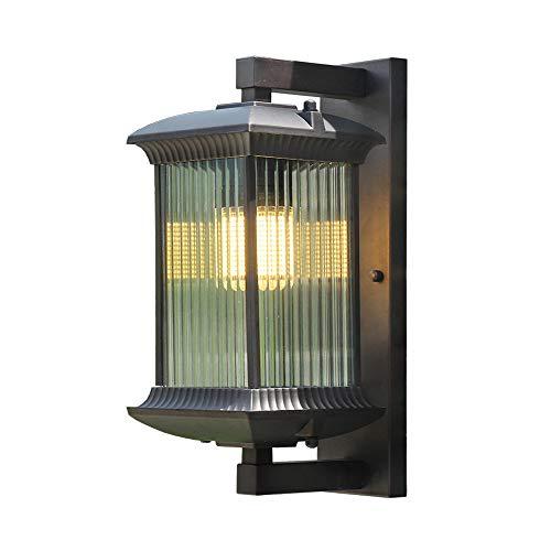 Vintage Retro E27 vierkante wandlamp, zwart, buitenverlichting, aluminium glazen scherm, rustieke wandlamp, IP44 voor binnen en buiten, tuin, terras, balkoningang, 15 x 23 x 35 cm