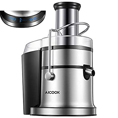 """Juicer, AICOOK 800W Juice Extractor with 5 Settings(LCD Display), Wide Mouth 3"""" Feed Chute for Whole Fruit Vegetable Centrifugal Juicing Machine, Easy Clean and Assemble, BPA-Free, Anti-Drip"""