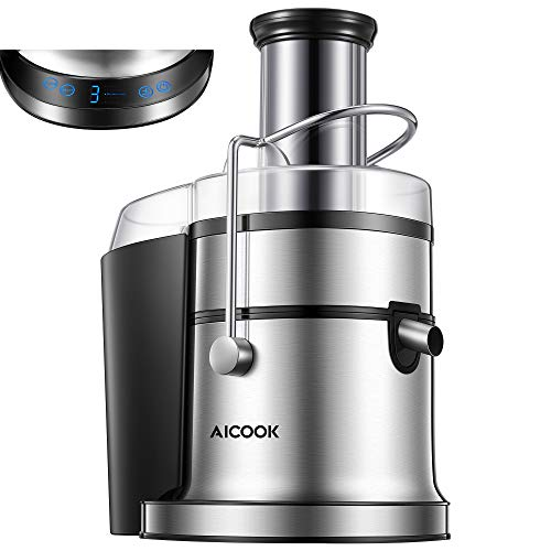 """Juicer, AICOOK 850W Juice Extractor with 5 Settings(LCD Display), Wide Mouth 3"""" Feed Chute for Whole Fruit Vegetable Centrifugal Juicing Machine, Easy Clean and Assemble, BPA-Free, Anti-Drip"""