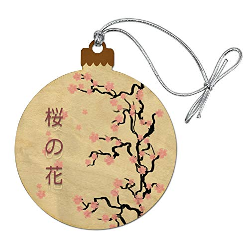 GRAPHICS & MORE Cherry Blossom Tree Pink Japanese Wood Christmas Tree Holiday Ornament