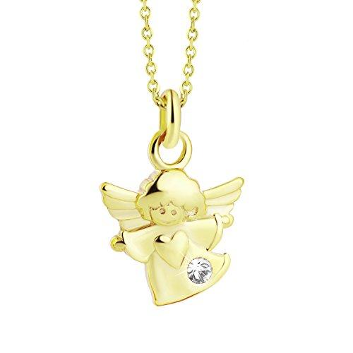 fish Mädchen Hals-Goldkette 333 Gold KLEINER Schutz-Engel mit Swarovski Elements Klar Längen-verstellbar Geschenkverpackung Taufgeschenk