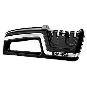 SHARPAL 104N Afilador 5 en 1 de cuchillos de cocina y tijeras, herramienta de afilado para cuchillos con filos rectos y dentados, reparar y afilar cuchillos de cocina europeos/americanos