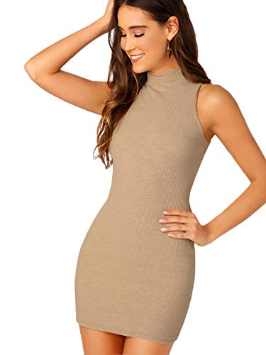 SheIn Women's Summer Sleeveless Halter Neck Casual Tank Bodycon Mini Dress Large Khaki