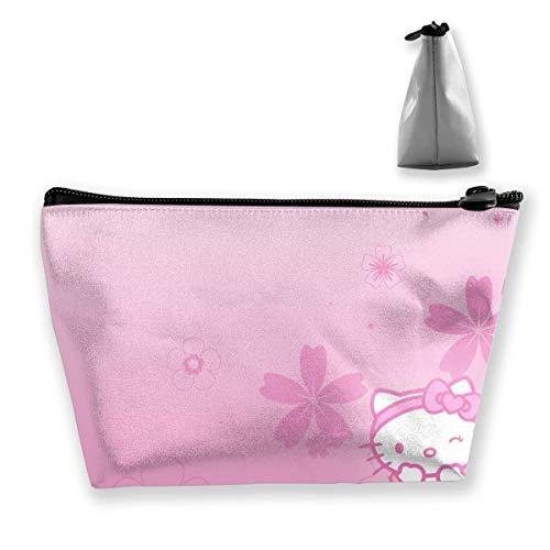 Bolsa de maquillaje bolsa cosmética Hello Kitty rosa flor multifuncional trapezoidal bolsa de almacenamiento organizador de viaje