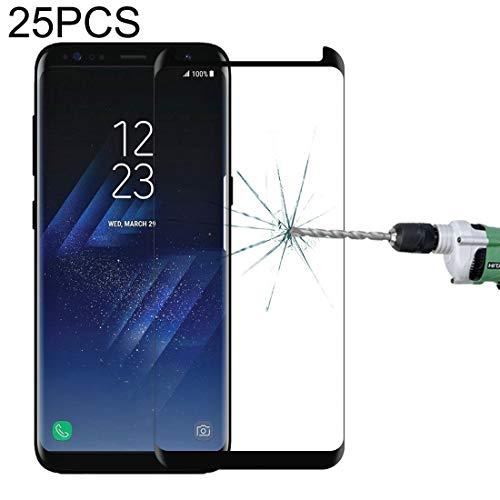 FILMDECRANWRC - Pantalla de cristal templado para 25 unidades para Samsung Galaxy S8 / G950 - Carcasa de pantalla curvada, película de cristal templado de cristal templado y protectores de pantalla