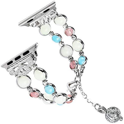 Correa de ágata luminosa para iwatch band 5 4 338 mmCinturón de pulsera de perlas para mujer con colgante de almacenamiento de perfume esencial, plata, 42 mm o 44 mm