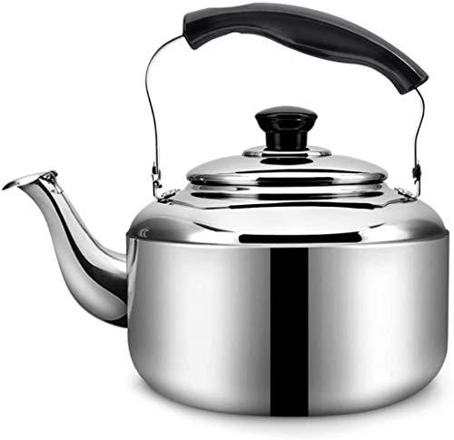 Tetera de cristal de acero inoxidable 304 silbato para estufa de cocina de inducción de 4 l/5 l, juego de té universal (color: 4 L)