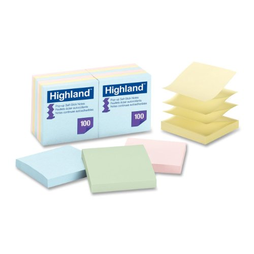 Highland Pop-up Sticky Notes, 3 x 3 Inches, Assorted Pastel Colors, 12 Pack (6549-PUA)