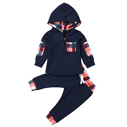 Geagodelia Babykleidung Set Baby Jungen Mädchen Kleidung Outfit Langarm Kapuzenpullover Top + Hose Neugeborene Weiche Babyset T-33958 (Blau 279, 0-6 Monate)