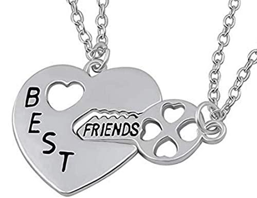LUIDILUC Collar con colgante de corazón con texto en inglés «Best Friends Best Friends Best Friends»